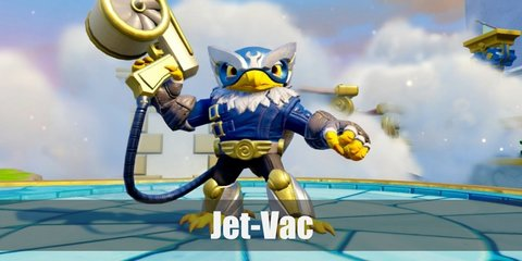 Jet-Vac costume looks like he's one courageous hero. He has an eagle face mean talons, and wears blue armor and a blue leaf skirt.