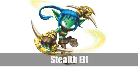 Stealth Elf is an cunning and sneaky elven ninja. She has green skin and blue, braided hair. She wears a black cropped tank top, brown pants, and a face mask.