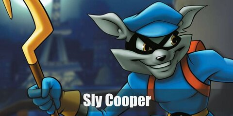 Sly Cooper costume is a blue top with a pair of shirts, a yellow neckerchief, and raccoon tails. This look can also be nailed with a a toy cane, a blu hat, and blue boots.