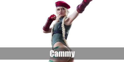 Cammy's costume can be recreated with a green leotard and black boots. She wears chest and leg harness details as well as red fingerlss gloves for accent. She also has a braided blonde hair and a red beret.