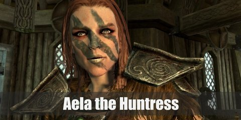 Aela the Huntress costume is wearing only light armor to help her move fast.  She wears a mostly brown outfit with a spattering of light steel armor.