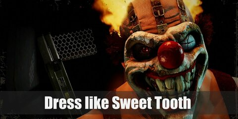 Sweet Tooth looks like a clown gone mad. He wears a clown mask with a terrifying grin, a pair of white pants with red polka dots, and combat boots.