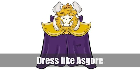 Asgore costume is a big purple cape wit a yellow shoulder top. He has yellow hair and beard, a horn, and a crown..