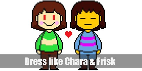 Frisk wears a striped sweater with purple and blue lines, blue pants, and brown shoes. Meanwhile, Chara wears a similar style sweater but with yellow and green stripes. It wears brown shorts and brown shoes. Both characters have brunette hair.