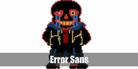 Error Sans' costume is a red shirt, black hoodie, black shorts, red tights, and a Sans mask. AUs shouldn't exist according to Error Sans.