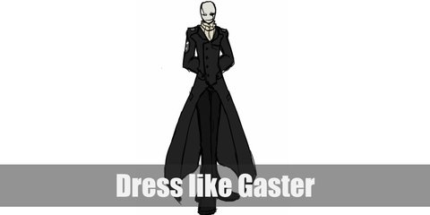 Gaster costume is white top, black pants, and white gloves. His whole head is pure white with eyes that are totally black.