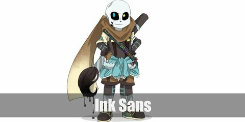 Ink Sans' costume is a beige shirt, brown tunic, khaki shorts, brown tights, and a giant paintbrush.