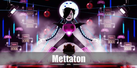 Mettaton costume can be recreated with a pink vest with a silver belt and a heart at the center. The costume has striped sleeves, oversized shoulder pads, and dark pants. She has black hair.