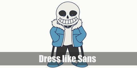 Sans cosutme is a body of skeleton with a dimpled face skull and wears a white T-shirt topped with a blue hooded jacket, baggy black pants, and gray shoes