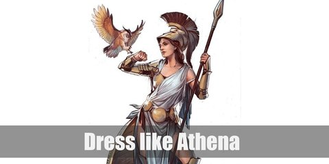 Athena costume is a long white dress, a chest plate, gantlets, a shoulder cover, a belt, leg guards, a Roman warrior helmet, and sandals.