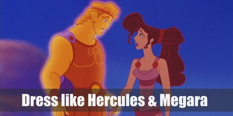 Hercules costume is wearing a brown gladiator-type of costume with a blue cape. Megara costume is a simple purple Grecian dress with gold buttons strategically placed in some areas.
