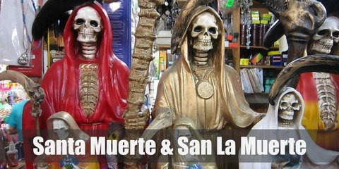 Santa Muerte costume includes a red cloak with a rib-printed tee and red skirt. Tie a hemp rope as belt. It also includes a skull mask, a scythe, and a toy scale. Meanwhile, San La Muerte has the same features in his costume, just switch up the color of the cloak to black.
