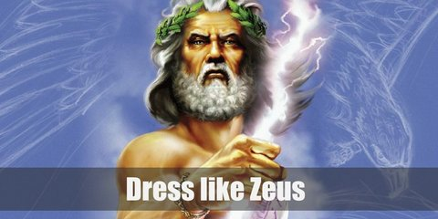 The Greek god Zeus costume is a Toga, a golden crown, golden gauntlets, a golden belt, and golden sandals.