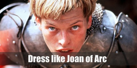 Joan of Arc costume is military armour and garb, sported a short haircut, and carried a flag to her battles.