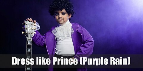 In line with his theme, Prince costume is a dominantly purple outfit with a white medieval ruffle shirt, black pants, and a bright purple long coat.