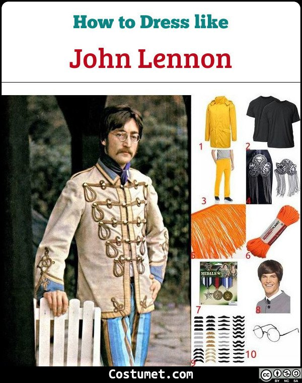 John Lennon Sgt Pepper Lonely Hearts Club Band The Beatles Costume for Cosplay & Halloween