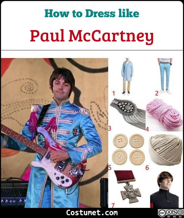 Paul McCartney Sgt Pepper Lonely Hearts Club Band The Beatles Costume for Cosplay & Halloween