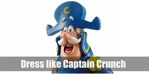 Captain Crunch is a Caucasian sea captain with a white mustache and is wearing a blue sea captain's vest, grey pants, black boots, and a blue captain's hat with a yellow 'C' written on it.