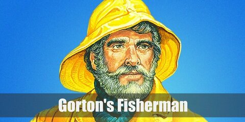 The Gorton's fisherman costume consists of a blue turtleneck top with a mathching rain coat anf bib pants. Complete the costume with a fake beard and wig topped with a yellow hat. Then strap in brown boots and carry a toy ship wheel.