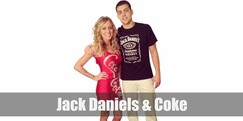 This Jack Daniels and Coke matching costume can be recreated with a branded shirt or dress!