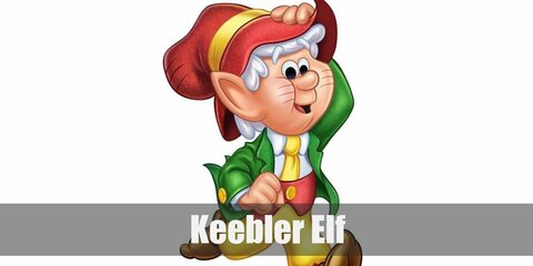 Keebler Elf's costume involves a green jacket and yellow shorts! He also has a yellow necktie which he paired with a red hat and vest!