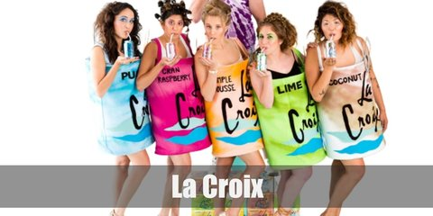 The La Croix costume involves a cardboard fashioned into a can's shape. Just paint the board with your choice La Croix tiedye print and attach a ribbon to wear it over the shoulder.