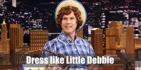 Little Debbie's costume is a light blue checkered skirt, a lacy white half-body apron, and black Mary Janes. Here's everything you need to look like Little Debbie.