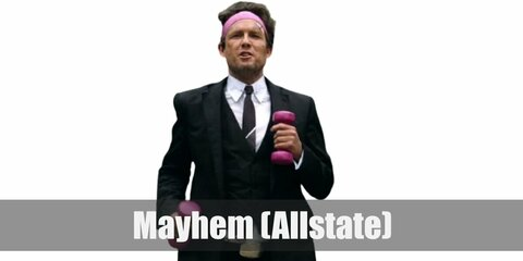 Mayhem's costume is a typical business suit, but with scars and bandages all over.
