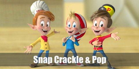 Snap, Crackle, and Pop are three elven mascots for Kellog's Rice Krispies. They wear distinctly different clothes. Snap wears a chef's hat. Crackle prefers a red and white beanie, and Pop likes his toy soldier's hat.