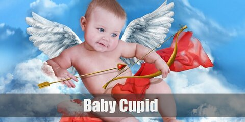 A Baby Cupid costume is white diaper with angel wings and a red bow & arrow.
