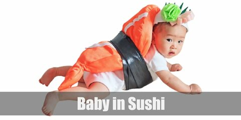 Baby in Sushi's costume is a white jumpsuit, a DIY shrimp made from felt fabric, a sushi-inspired headband, and a plain black belt.