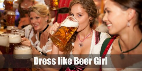 The wonderful Beer Wench ladies are all about serving beer-starved customers with ice-cold mugs of the drink. All the while, they're also wearing variations of a traditional dirndl.