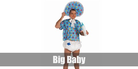 A fun big baby costume includes a bright printed top with nappy-type bottom. The big baby also wears an oversized hat, a bib, and carries a milk bottle.