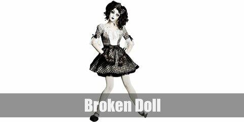 Broken Doll's costume is a dark Lolita dress, dark lace gloves, a dark hair bow, dark Mary Janes, and a white cracked mask.