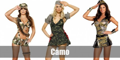 Camo costume includes an olive shirt, camouflage print pants and hat, as well as dog tags. Wear combat boots, too. Accessorize with a sash of fake bullets.