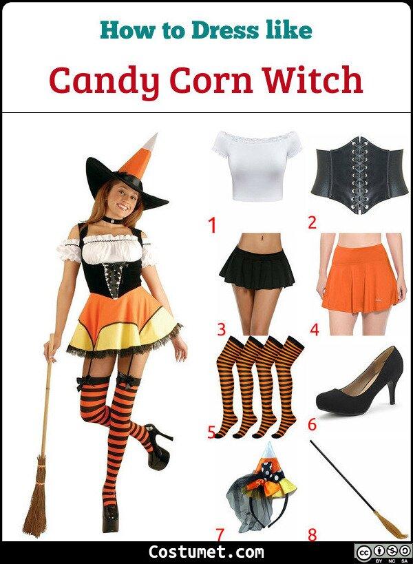 Candy Corn Witch Costume for Cosplay & Halloween