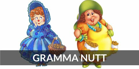 Gramma Nutt's costume is either a classic blue dress or a more vibrant orange dress. Visit Gramma Nutt over at Peanut Acres.