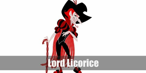 Lord Licorice's outfit features a predominantly red and black color. You can dress like with a red top and black vest and tights.