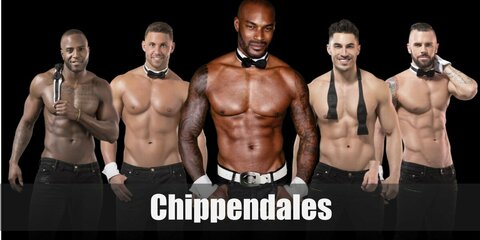 The costume for for Chippendales feature black pants, cuffs, and a necktie or bow. You can either go topless or wear a muscle tee to complete the look.