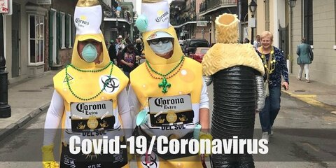Covid-19/Coronavirus costume is a virus mask and set of clothes with word corona