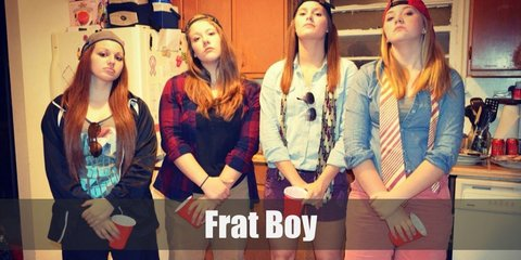 Frat boy costume is a long-sleeved buttoned down shirt, cargo shorts, a black leather belt, boat shoes, and a sport cap.