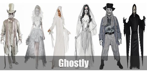 For ghostly costume, you can dress up any which way you like. As long as you look pearly white and bit haunted, that is. For this article, let's spice things up by tackling Victorian ghosts. Some of the things you will need is a white medieval dress, a white top hat, a white wig.