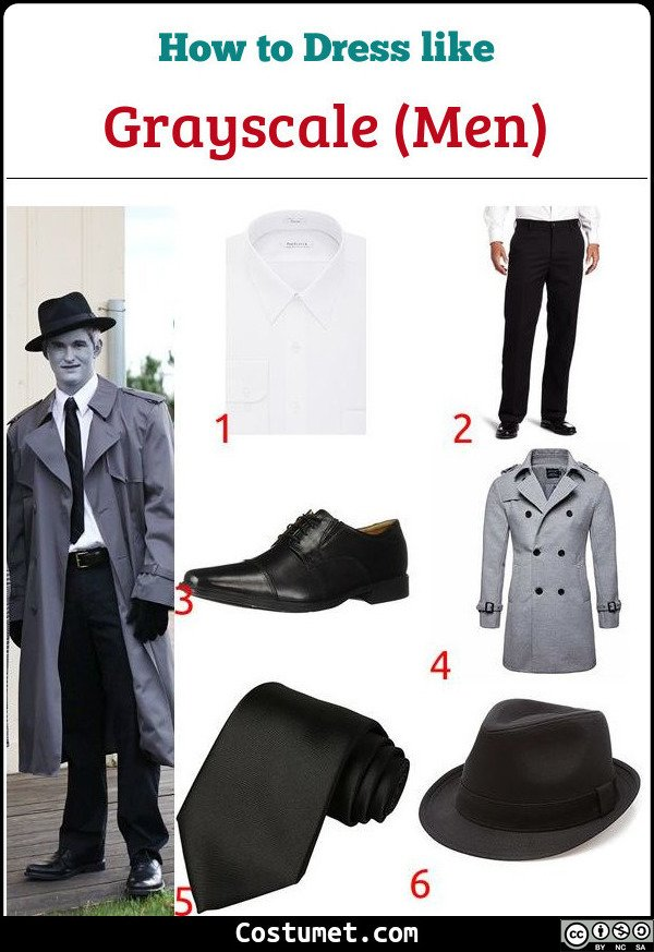 Grayscale Men Costume for Cosplay & Halloween