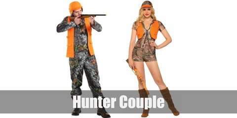 Male hunters costume is a camo shirt with long sleeves, a bright yellow vest jacket, camo pants, a leather belt, a hunting hat, and outdoor boots. Female hunters wear a camo top, camo shorts, an orange vest, leather belt, a camo cap, and brown boots.