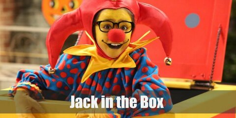 For Dressing up as a Jack in the Box outfit, you will need a clown outfit, yellow satin fabric, a cardboard box, and lots of acrylic paint.
