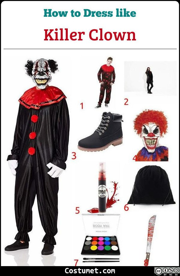 Killer Clown Costume for Cosplay & Halloween