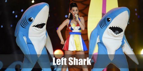 The left shark outfit consists of a shark costume which can include an inflatable set, a foam one, or a onesie for a more comfortable take.