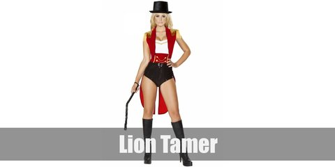 The lion tamer costume consits of a red vest, a white tube top, epaulets on the shoulders, shorts, and a red sash. Wear thigh-high boots, a top hat, and carry a whip, too.