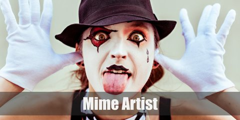 Mime artists wear a white shirt with black horizontal-stripes, dark pants, red suspenders, a red scarf, white gloves, a beret hat, and black leather shoes.