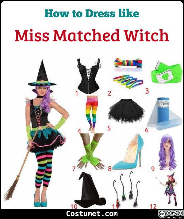 Miss Matched Witch Costume for Cosplay & Halloween